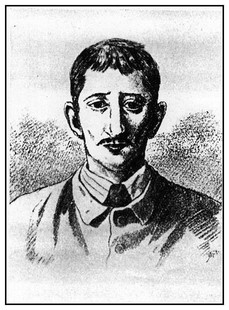 Leopold Hilsner, nepříliš inteligentní Žid. Neprávem obviněn z vraždy Anežky Hrůzové.