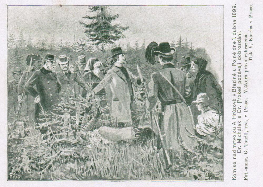 Identifikace těla v dobové kresbě z novin.