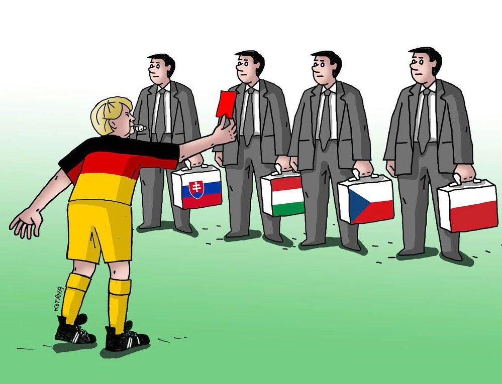 Angela Merkelová se pře nejen s Visegrádem.