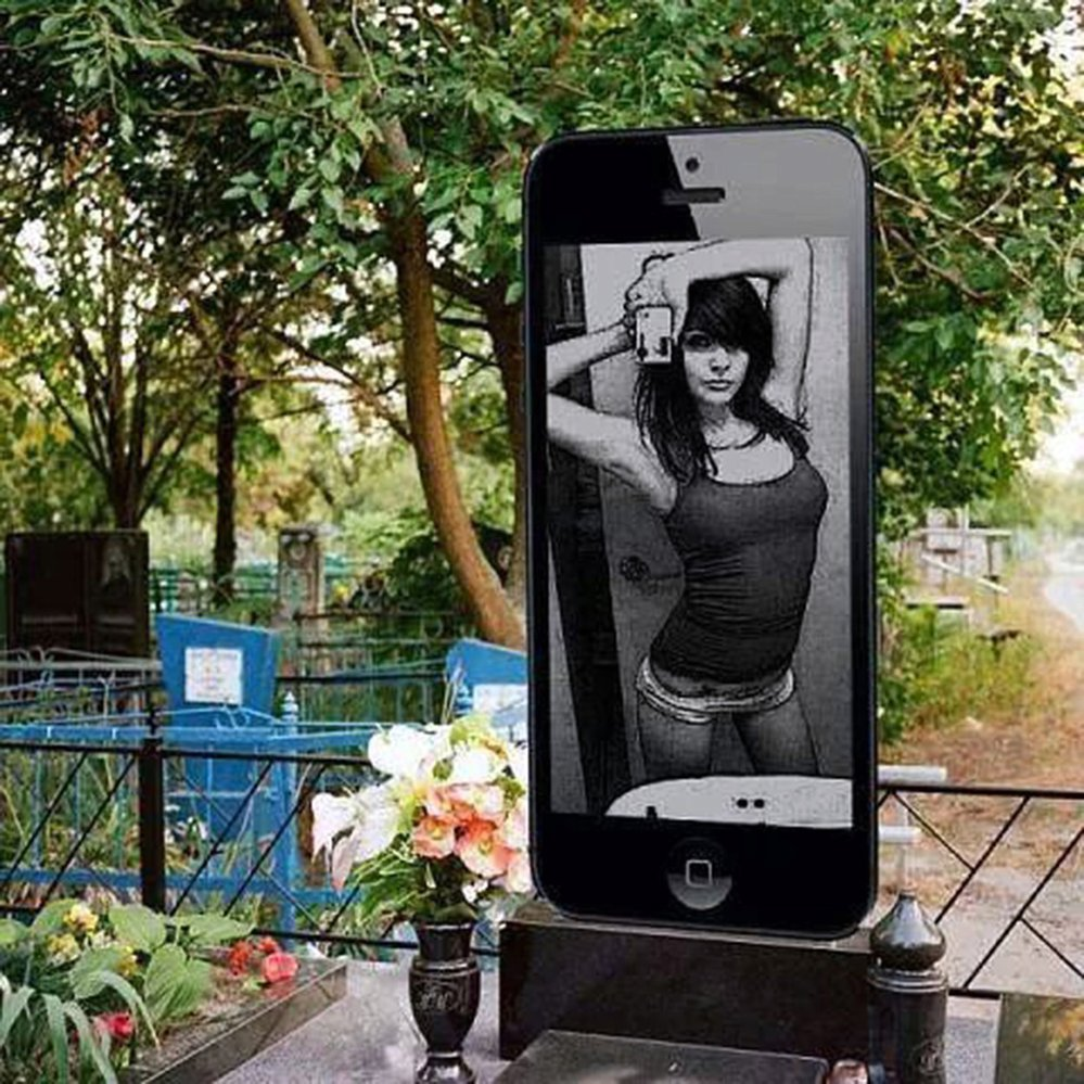 Na náhrobku může být foto nebo selfie.
