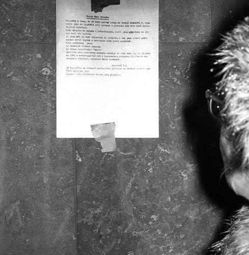 Dopis studenta Jana Palacha, který se 16. ledna upálil na Václavském náměstí v Praze.