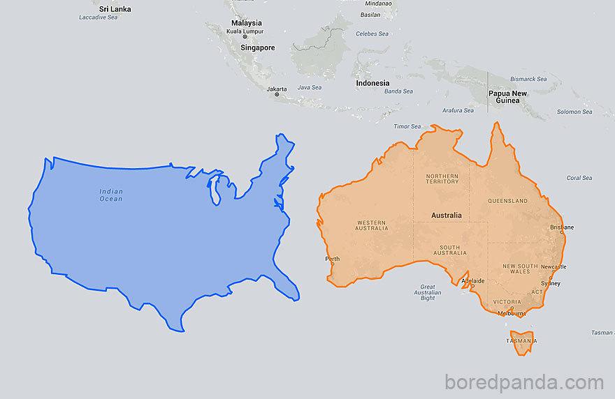 USA na jižní polokouli vedle Austrálie