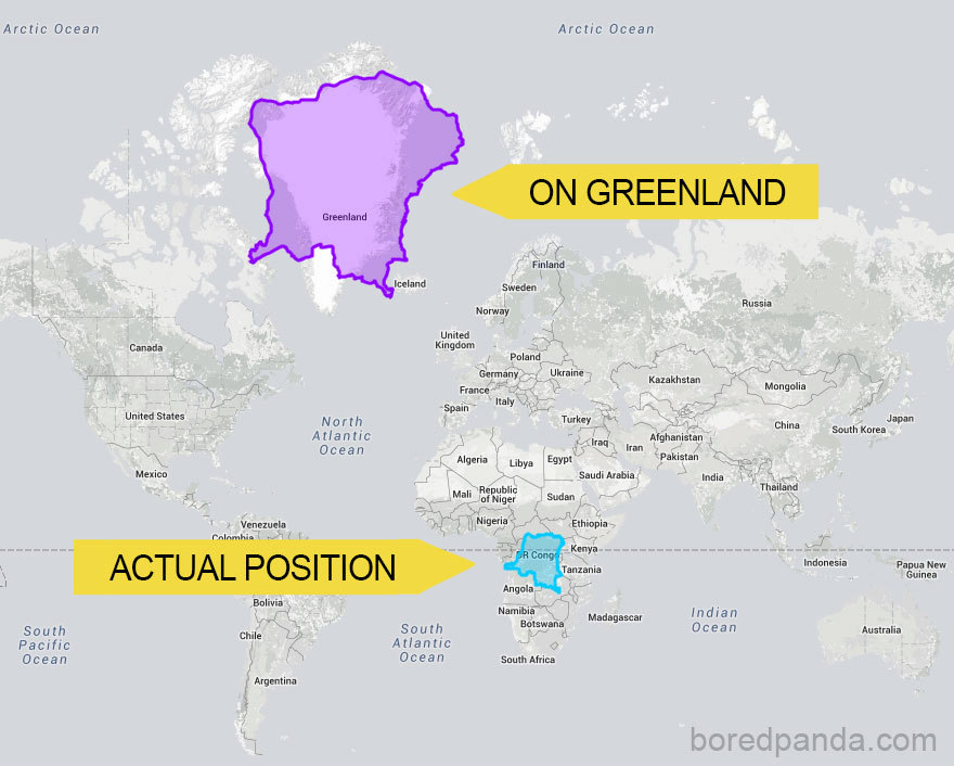 Kongo v Africe u rovníku a na úrovni Grónska