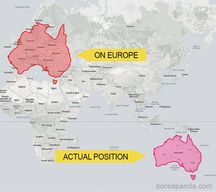 Austrálie v porovnání s Evropou