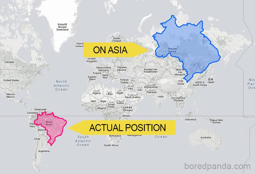Brazílie by se v severní Asii zdála větší
