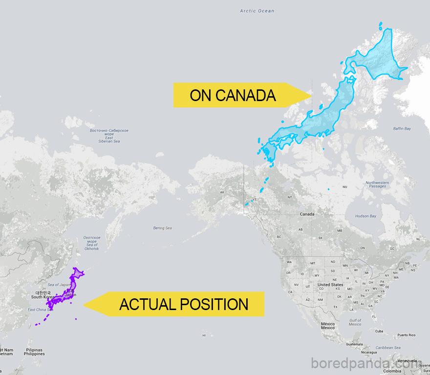 Japonsko by bylo roztažené přes celý sever Kanady