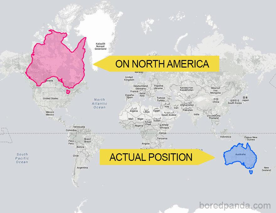 Kdyby Austrálie byla v severní Americe, zdála by se větší
