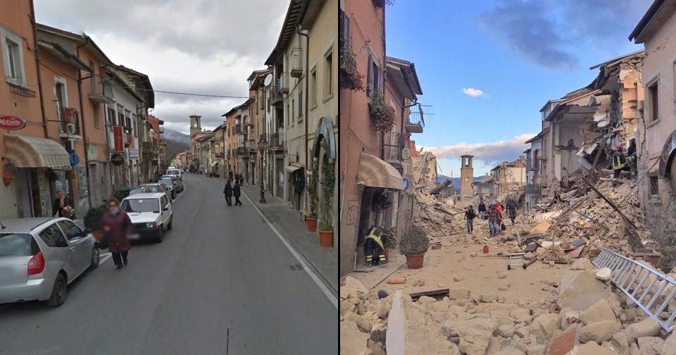 Město Amatrice zemětřesení doslova zdemolovalo
