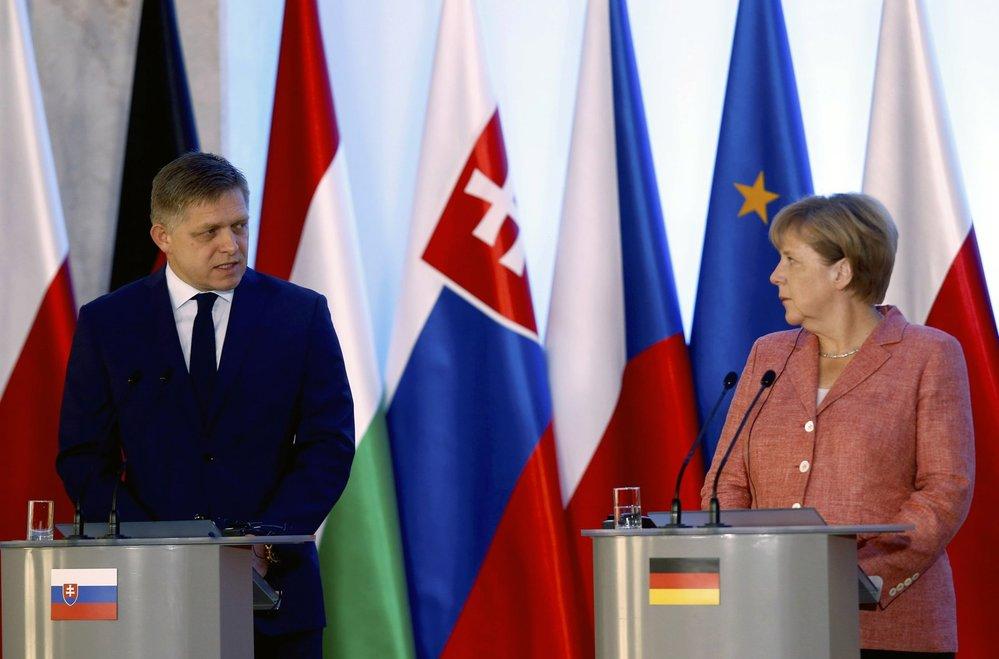 Slovenský premiér Robert Fico a německá kancléřka Angela Merkelová