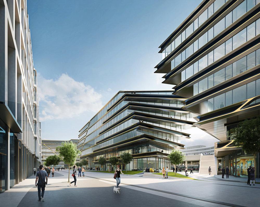 Nová čtvrť Central Business District, kterou u Masarykova nádraží v Praze připravuje skupina Penta. Autorkou návrhu je světově proslulá architektka Zaha Hadid.