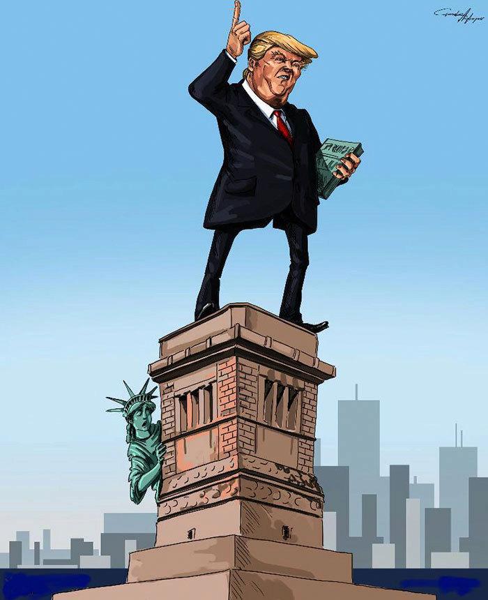 Karikatura Donalda Trumpa