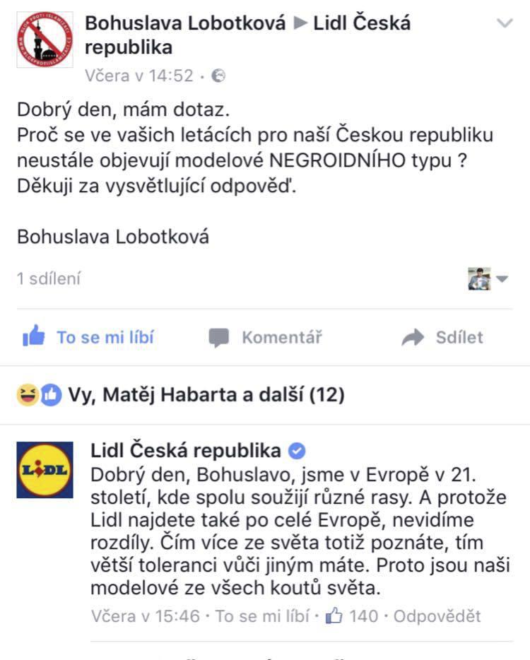 Jedna z prvních reakcí řetězce Lidl ČR na kritiku za modela tmavé pleti. Bod pro Lidl.