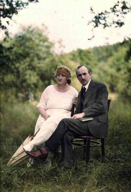 Druhý československý prezident Edvard Beneš s manželkou v roce 1921.