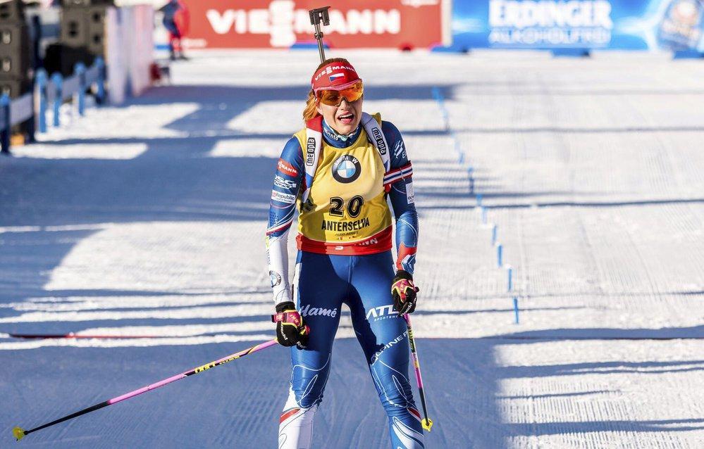 Gabriela Koukalová přišla po prvním startu v Anterselvě o žlutý dres pro vedoucí závodnici Světového poháru