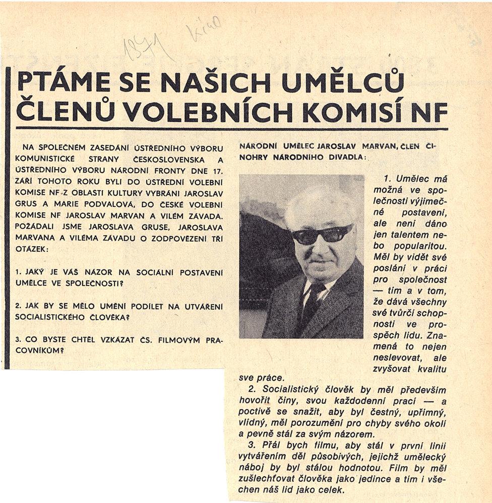 Ukázka zdobového tisku, rok 1971:Socialistický člověk by měl prý především hovořit činy.
