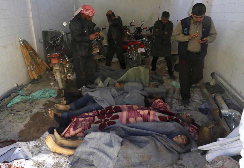 Syrský Idlíb po chemickém útoku.