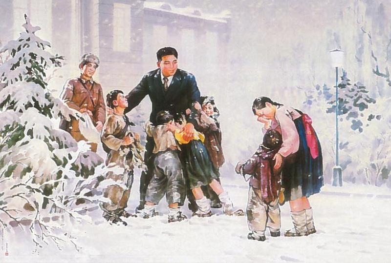 Korejské propagandistické obrazy ze života Kim Ir-sena.