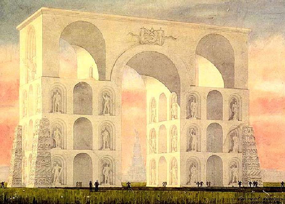 Oblouk hrdinů měl dle architekta Pavlova stát na Rudém náměstí. K tomu rovněž nikdy nedošlo.