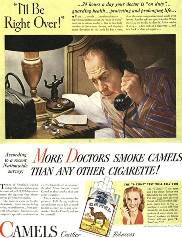 11. Reklama na cigarety Camel: Výsledek národní ankety - více doktorů kouří značku Camel než ostatní cigarety.