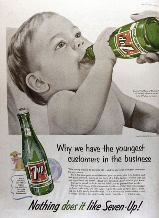 14. Reklama na nápoj 7Up s dítětem: Proč máme nejmladší zákazníky na trhu.