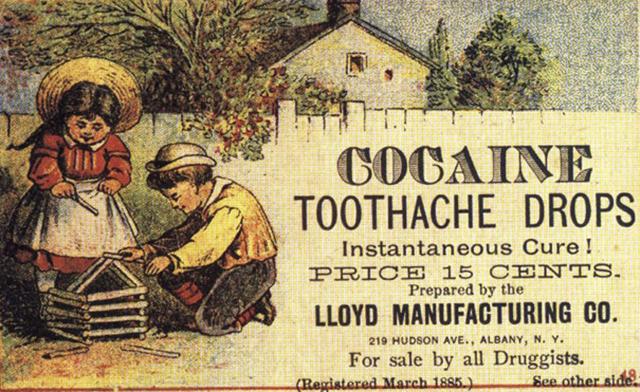19. Reklama, kde si na obrázku hrají děti: Kokainové kapky na bolest zubů.