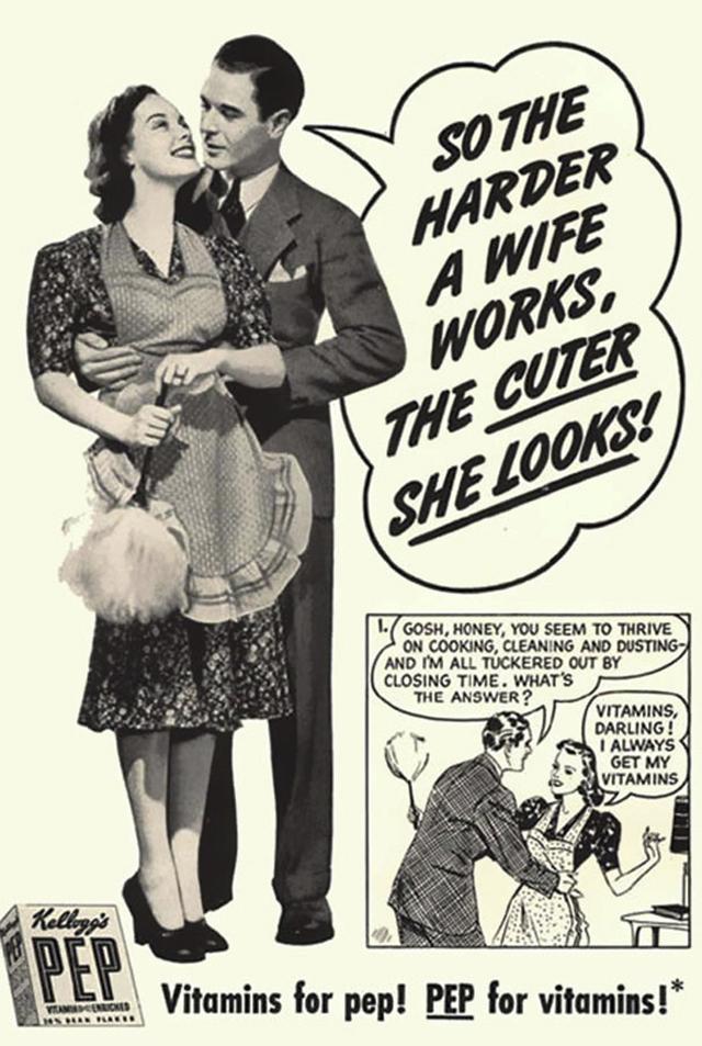 23. Reklama na vitamínový přípravek: Čím víc má manželka pracuje, tím je hezčí.