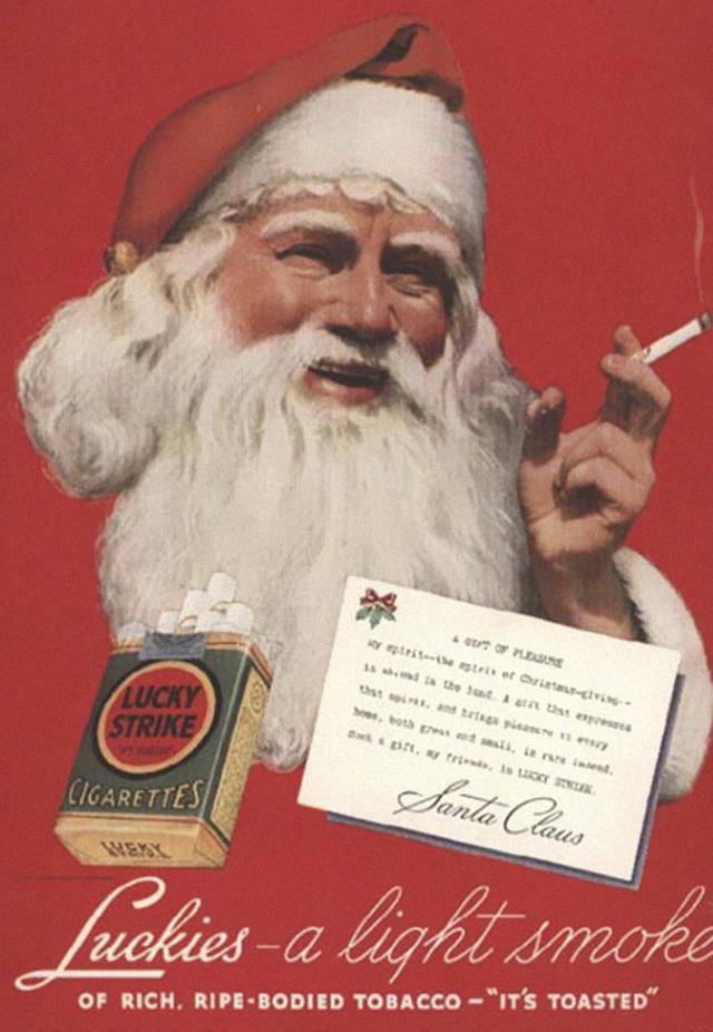 5. Reklama na cigarety Lucky Strike: Lehké kouření, bohaté, z uzrálého tabáku.