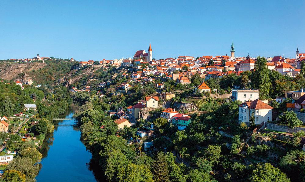 Pohled na město Znojmo, vlevo Hradiště