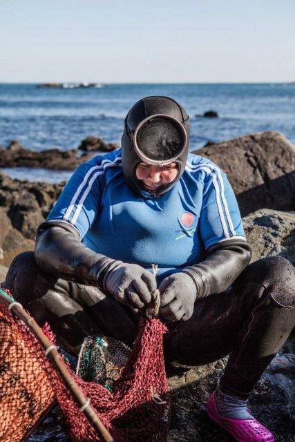"""""""Matky moře"""" Haenyeo se bez dýchacích přístrojů běžně potápí až do hloubky dvaceti metrů."""