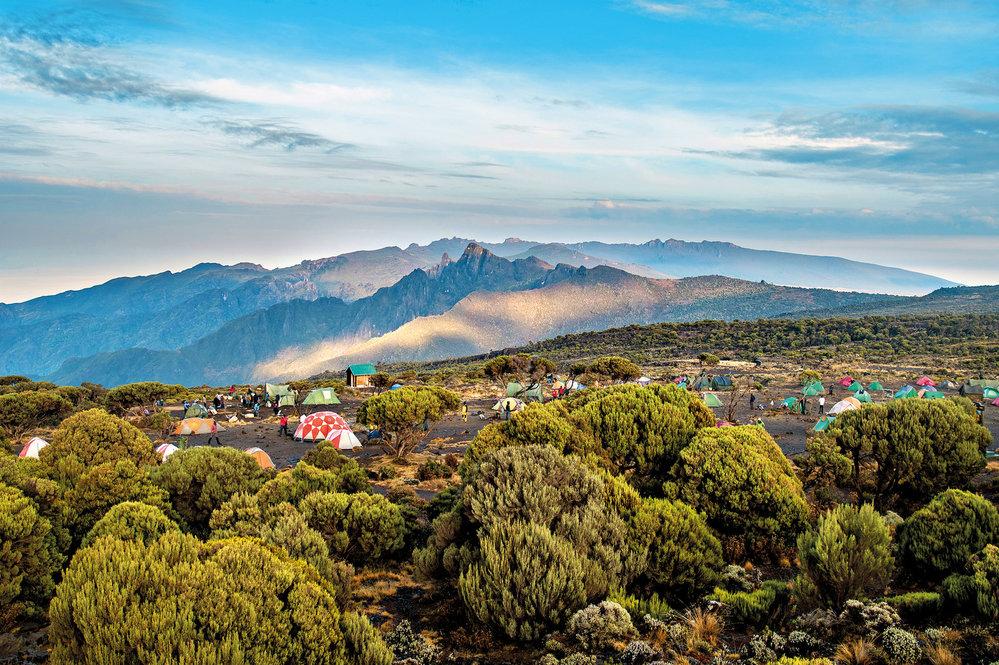 Ráno na Shira Plateau – každý den míří za svým snem doslova desítky expedic.