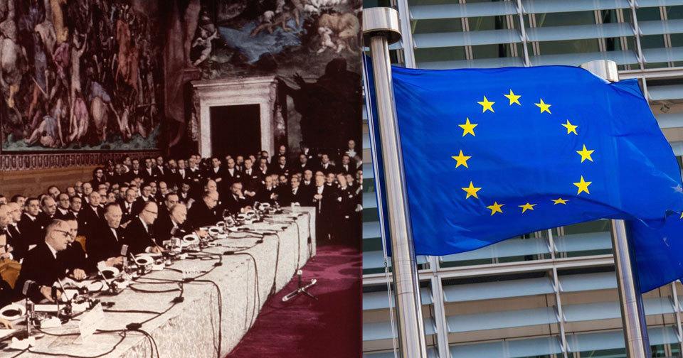 Podpisem Římských smluv vznikl předchůdce dnešní EU.
