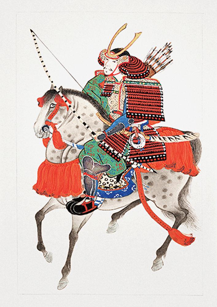 Japonský samuraj s bambusovým lukem
