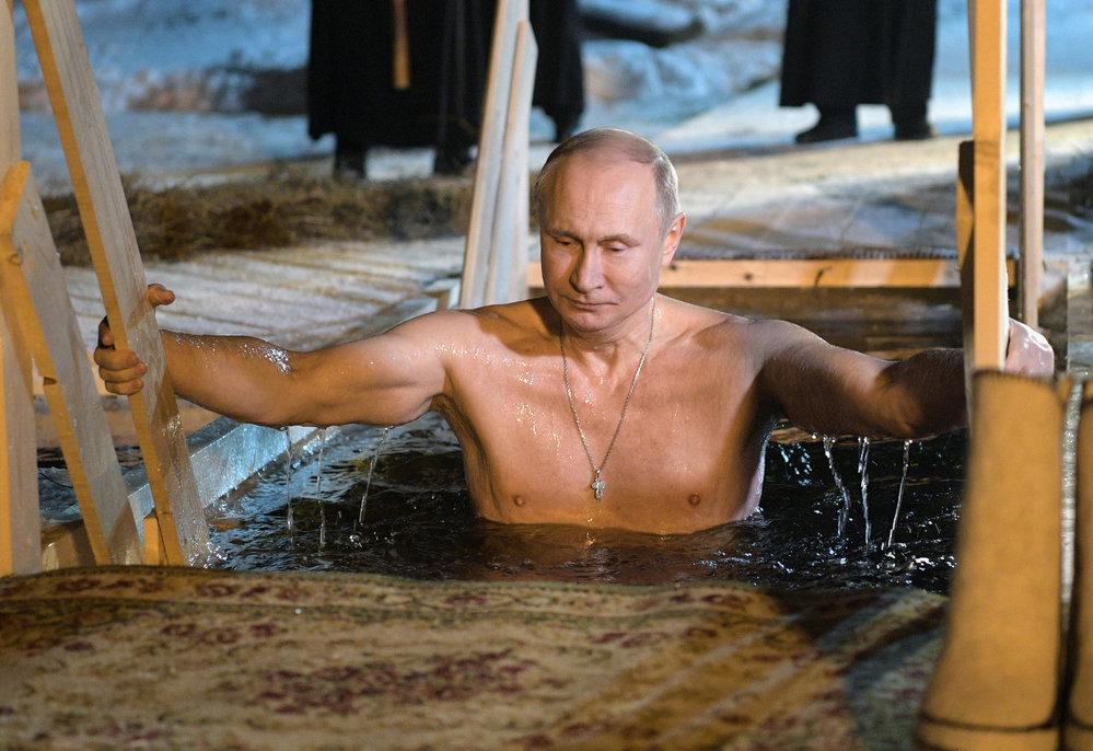 Vladimir Putin u tverského jezera Seliger.