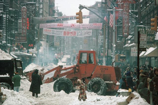 Chinatown po sněhové bouři.