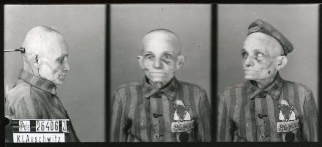 Snímky vězňů z Osvětimi.