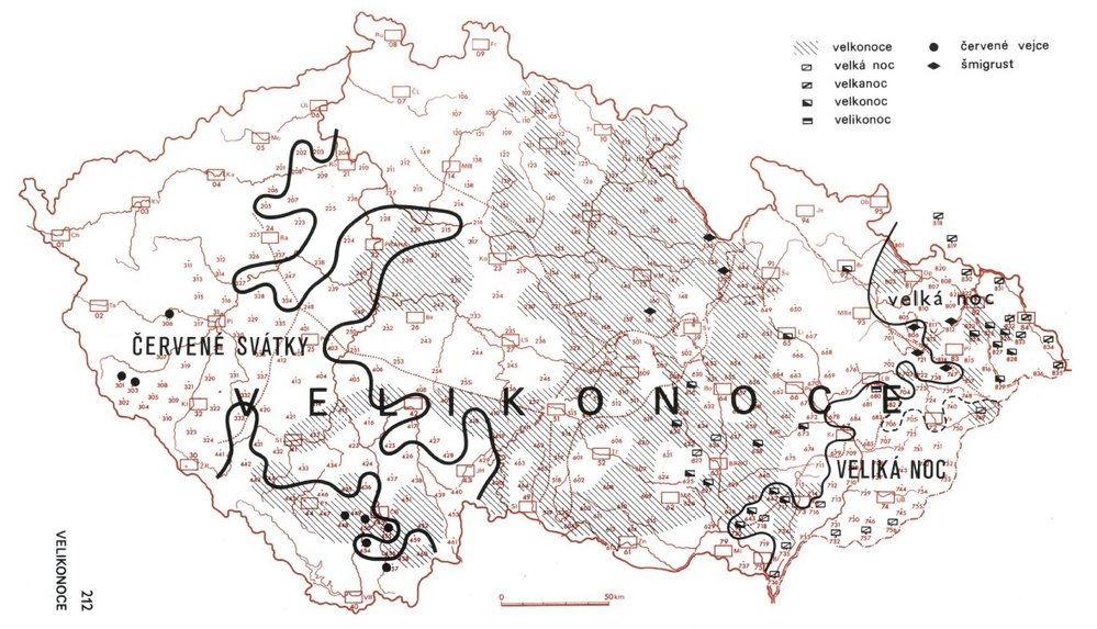 Název Velikonoce měl na východě Moravy a ve Slezsku variantu veliká noc nebo velka noc. Na druhé straně republiky v západních Čechách se zase v tomto významu používalo spojení červené svátky.