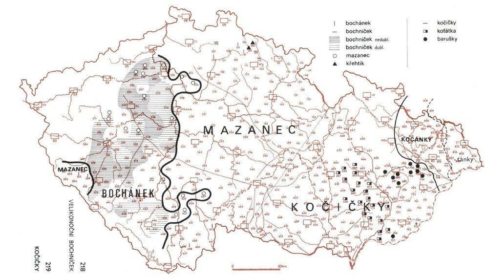 Tradiční velikonoční pečivo má základní pojmenování mazanec, v západní polovině Čech se ale dodnes používá i název bochánek či bochníček. (na obrázku je svodná mapa pro mazanec a kočičky)