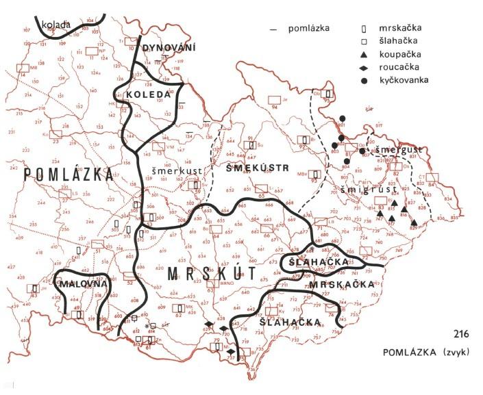 Pomlázka jako výraz pro koledování na Velikonoční pondělí se používá na většině území Čech, situace na Moravě a ve Slezsku je ale mnohem pestřejší.
