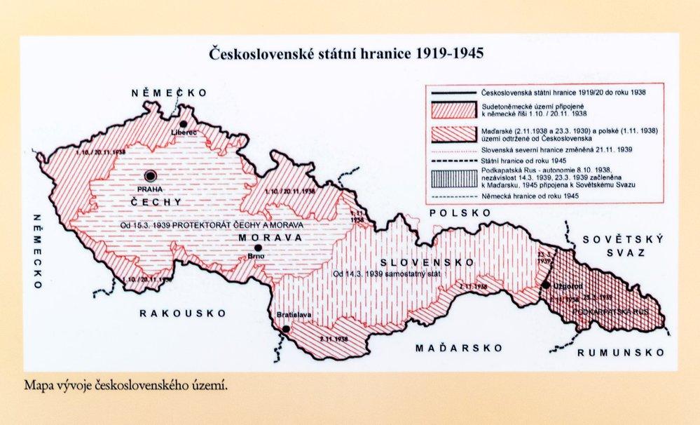 Nová podoba hranic po Mnichovské dohodě.