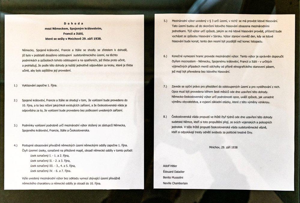 Překlad textu Mnichovské dohody do češtiny.