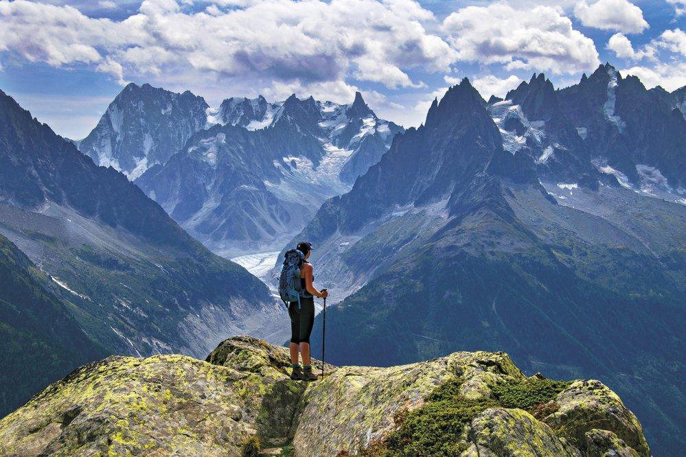Vyhlídka odjezera Fouet, kde se před vámi rozevře celé panorama Mont Blancu.