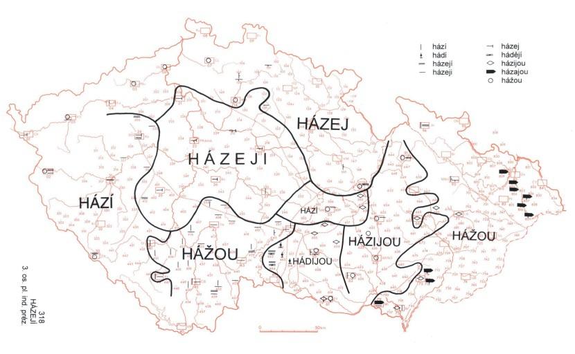 Házeji. Pro střední Čechy typická krátká koncovka -ji.