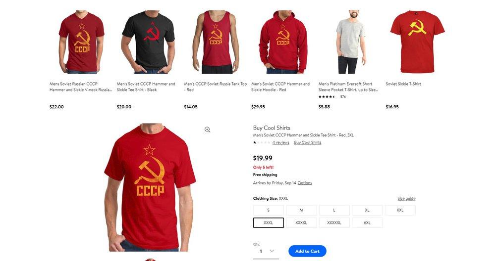 """4d51e3ba551 Walmart stáhl na žádost Litvy trička se sovětskými symboly. Naštvané Rusko  rozdává """"gratulace"""""""