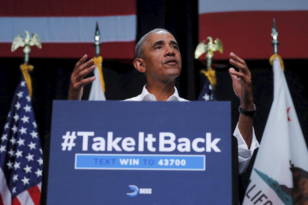 Exprezident Barack Obama na setkání demokratů v Kalifornii, kde vyprávěl historku o kouření ze svého mládí