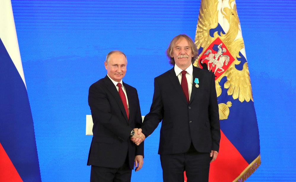 Nohavica převzal v listopadu 2018 od Vladimira Putina Puškinovu medaili.