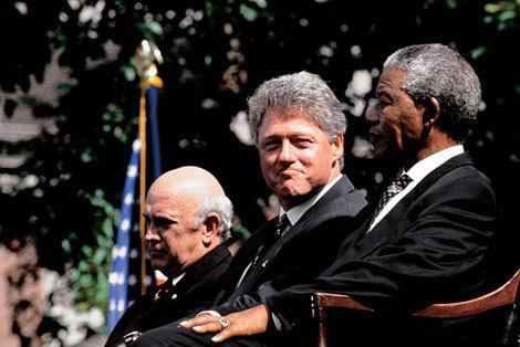 Frederik Willem de Klerk, Bill Clinton, Nelson Mandela