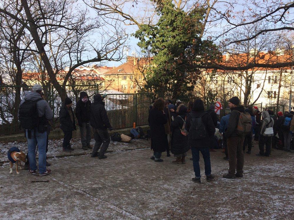 Druhý den vyklízení sociálního centra Klinika, 11. ledna 2019