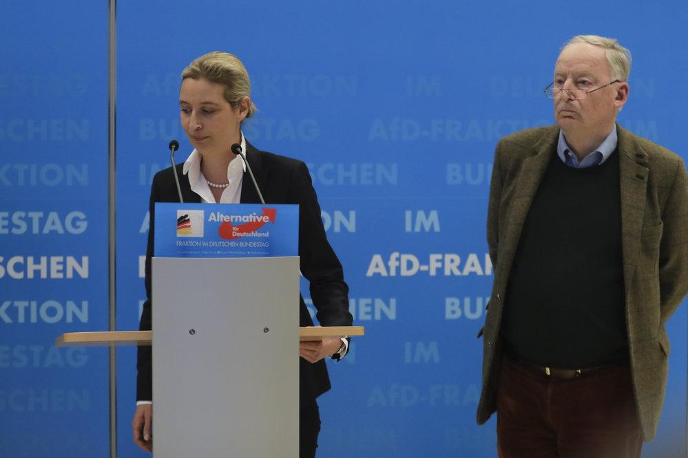 Členové AfD Alice Weidelová a Alexander Gauland.