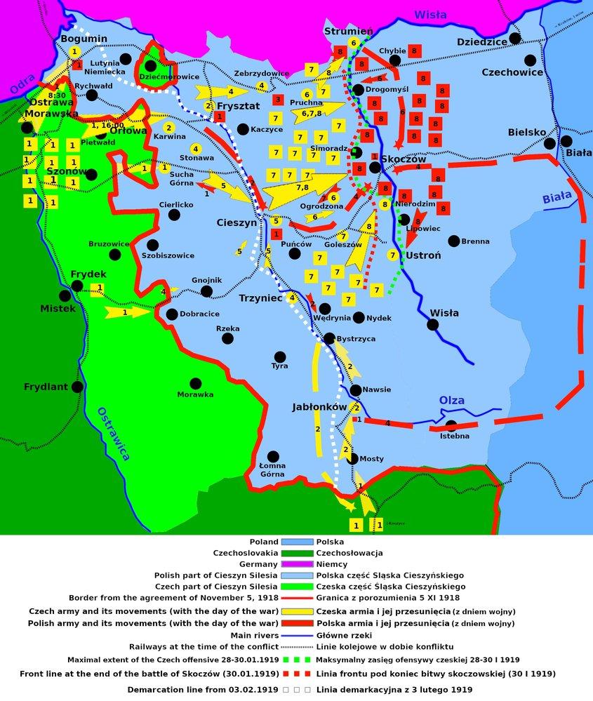 Schématická mapa československo-polského konfliktu o Těšínsko