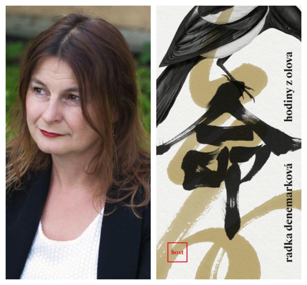 Radka Denemarková a obálka jejího románu Hodiny z olova